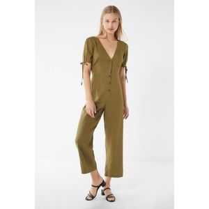 Urban Outfitters Linen Jumpsuit Khaki Army Green S